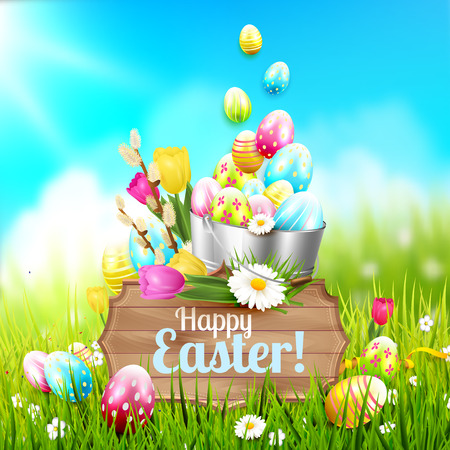 wooden bucket: Easter greeting card with flowers, colorful eggs in the bucket and wooden sign in the grass