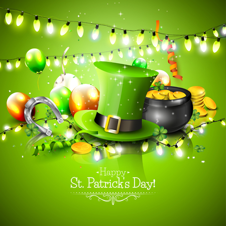 St. Patrick's Day background with balloons, hat and pot of gold