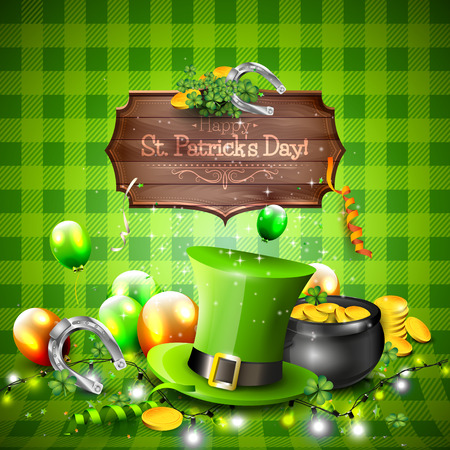 wooden hat: St. Patricks Day background with balloons, hat, pot of gold and wooden sign
