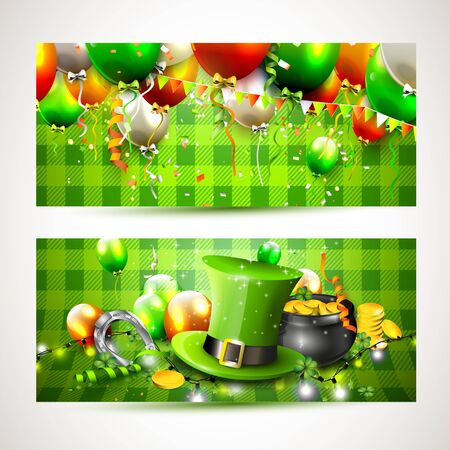 patrick banner: St. Patricks Day horizontal banners with balloons, hat and pot of gold on green background
