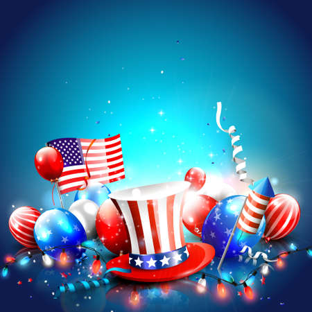 4th of July - Independence Day celebration background with hat, balloons, American flag and place for your text