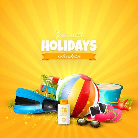 flipflops: Summer Holidays Adventure. Beach ball, sunglasses, palm leaves, diving fins, flip-flops and bucket on orange background. Summer vacation concept Illustration