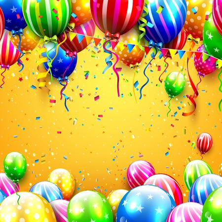 welcoming party: Party background with colorful balloons and confetti on orange background Illustration
