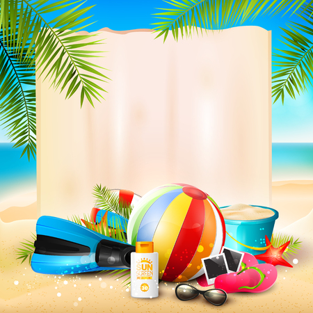 sunny beach: Seaside view on beautiful sunny beach with palm leaves, beach ball, sunglasses,diving fins, flip-flops and empty paper. Summer vacation concept