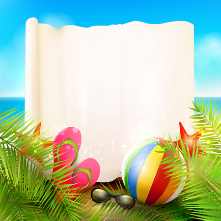 sunglasses recreation: Seaside view on beautiful sunny beach with palm leaves, beach ball, sunglasses and flip-flops - vector background with empty paper with place for your message