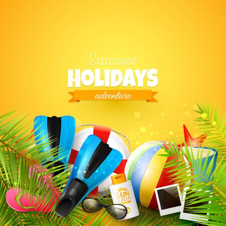 beachball: Beach ball, sunglasses, palm leaves, diving fins, flip-flops and bucket on orange background. Summer vacation concept