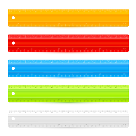 precise: Set of five colorful rulers