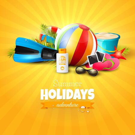 flipflops: Beach ball, sunglasses, palm leaves, diving fins, flip-flops and bucket on orange background. Summer vacation concept