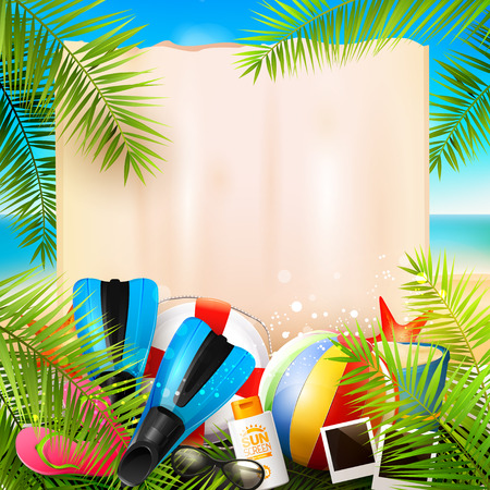 flipflops: Seaside view on beautiful sunny beach with palm leaves, beach ball, sunglasses,diving fins and flip-flops - vector background with empty paper with place for your message Illustration