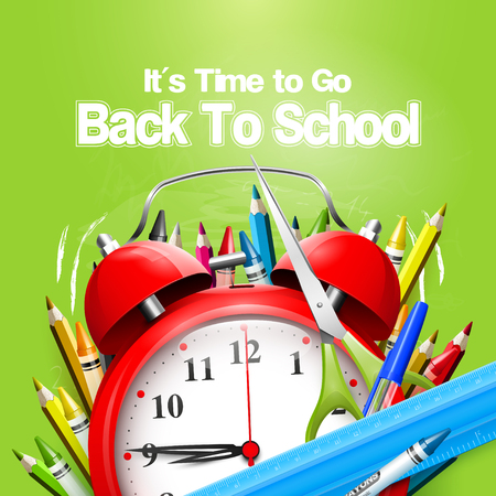 to go: Its Time to Go Back to School. Back to school background with alarm clock and school supplies on the green chalkboard