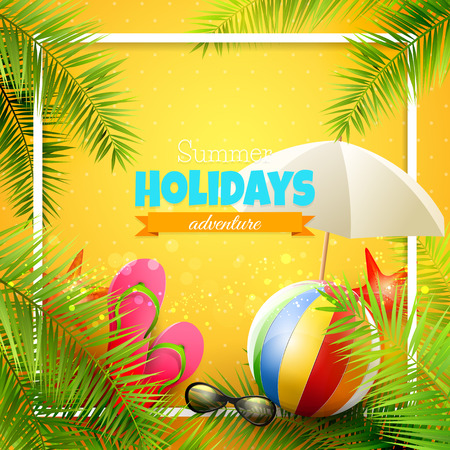 sunglasses recreation: Beach ball, sunglasses, palm leaves, diving fins, flip-flops and bucket on orange background. Summer vacation concept