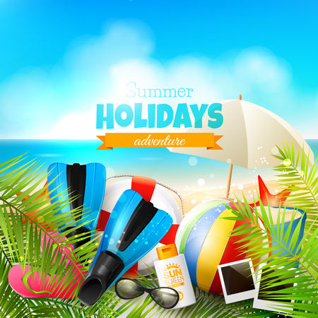 sunny beach: Seaside view on beautiful sunny beach with palm leaves, beach ball, sunglasses and flip-flops - vector background