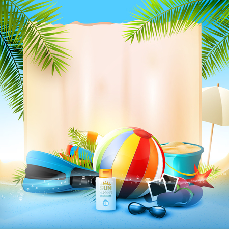 sunny beach: Seaside view on beautiful sunny beach with palm leaves, beach ball, sunglasses,diving fins and flip-flops - vector background with empty paper with place for your message Illustration