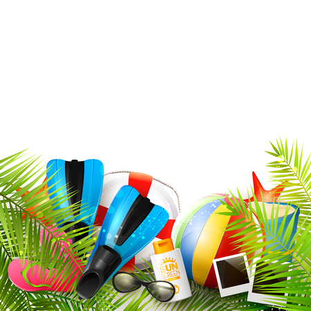 safety circle: Summer background with beach ball, sunglasses, palm leaves, diving fins, flip-flops, safety circle and bucket on white background.