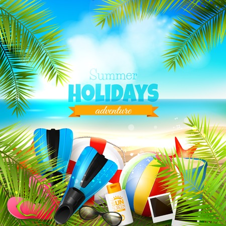 Seaside view on beautiful sunny beach with palm leaves, beach ball, sunglasses,diving fins and flip-flops - vector background
