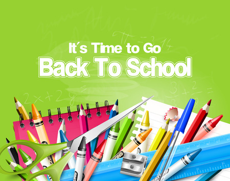 go back: Its Time to Go Back to School. Back to school background with school supplies on the green chalkboard