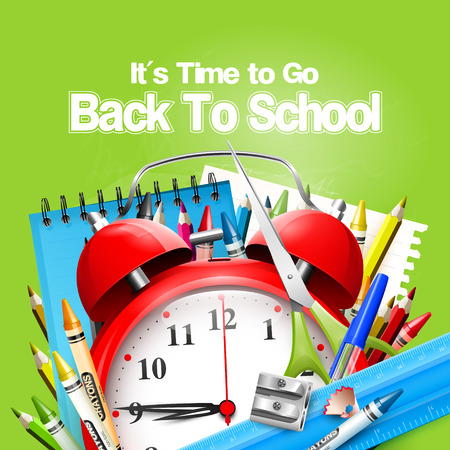 go back: Its Time to Go Back to School. Back to school background with alarm clock and school supplies on the green chalkboard
