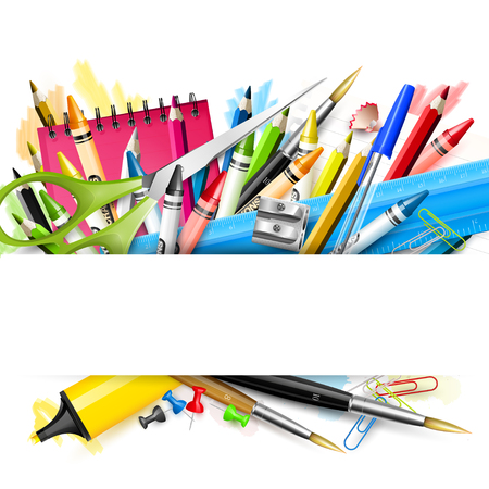 utiles escolares: Fondo de la escuela con los útiles escolares en el fondo blanco