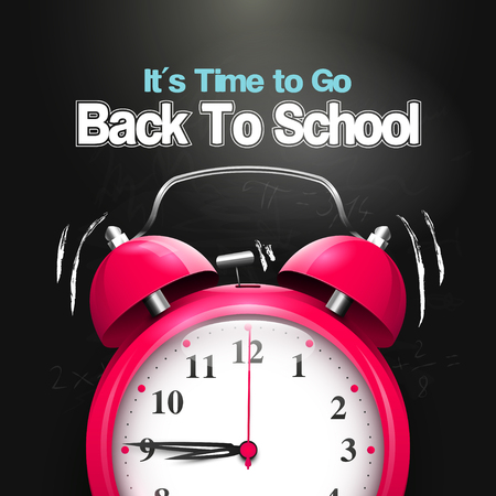 go back: Its Time to Go Back to School. Back to school background with alarm clock on the blackboard.