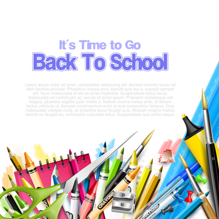 go back: Its Time to Go Back to School. Back to school background with school supplies on white background Illustration