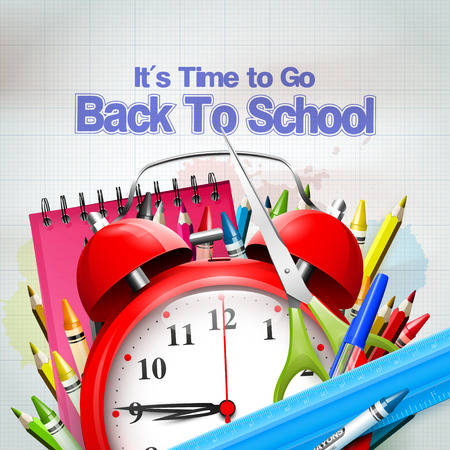 go back: Its Time to Go Back to School. Back to school background with alarm clock and school supplies on the paper
