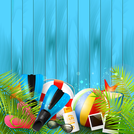 wooden bucket: Summer background with beach ball, sunglasses, palm leaves, diving fins, flip-flops, safety circle and bucket on blue wooden background Illustration