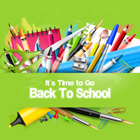 crayon  scissors: Its Time to Go Back to School. Back to school background with school supplies on green chalkboard.