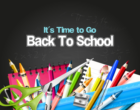 go back: Its Time to Go Back to School. Back to school background with school supplies on the blackboard