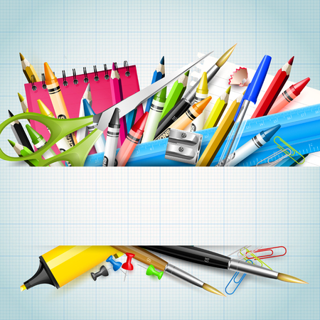 School background with school supplies on paper background