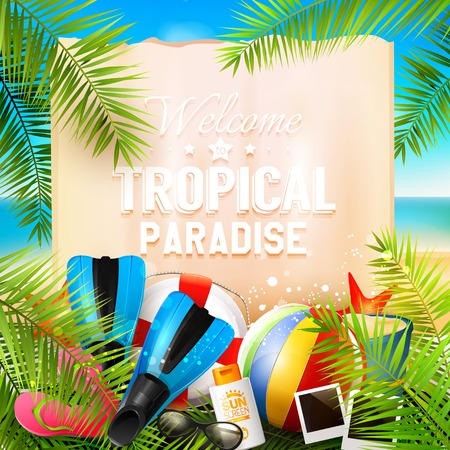 sunny beach: Welcome to tropical paradise. Seaside view on beautiful sunny beach with palm leaves, beach ball, sunglasses,diving fins and flip-flops - vector background Illustration