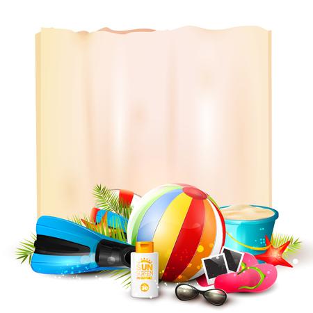 ricreazione: Pallone da spiaggia, occhiali da sole, foglie di palma, pinne immersione, flip-flop, secchio e carta vuoto su sfondo bianco.