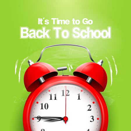 go back: Its Time to Go Back to School. Back to school background with alarm clock on the green chalkboard
