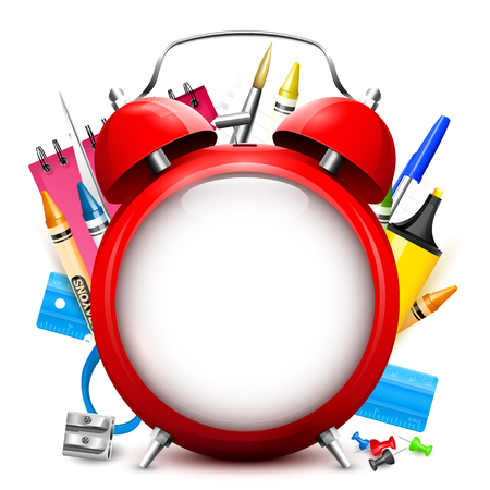 Back To School background - red alarm clock and school supplies with place for text