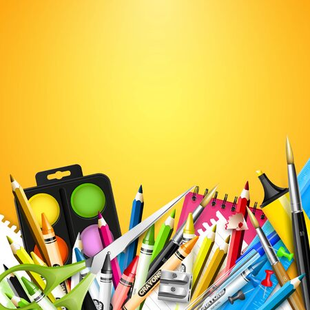 crayon  scissors: School background with school supplies on orange background