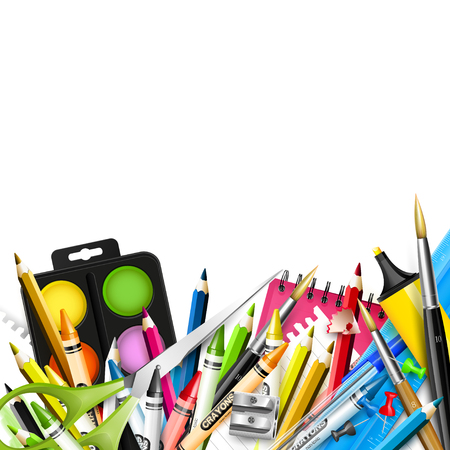 crayon  scissors: School background with school supplies on white background