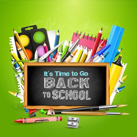 crayon  scissors: Back To School background with school supplies and chalkboard on green background