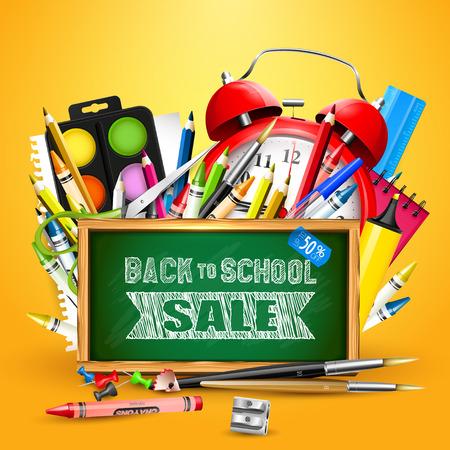 """Fuentes de escuela y pizarra con """"De nuevo a venta de la escuela"""" inscripción"""