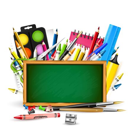 crayon  scissors: Back To School background with school supplies and chalkboard on white background