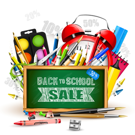 """School supplies and blackboard with """"Back To School Sale"""" inscription"""