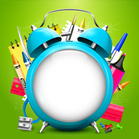 crayon  scissors: Back To School background - Cyan alarm clock with place for text and school supplies on green background