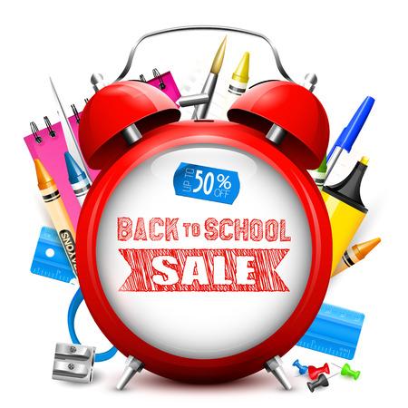 """De nuevo a la venta de la escuela - despertador rojo con texto """"de vuelta a la escuela"""" y materiales escolares sobre fondo blanco"""