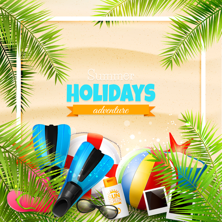 fins: Beach ball, sunglasses, palm leaves, diving fins, flip-flops and bucket on the sand. Summer vacation concept