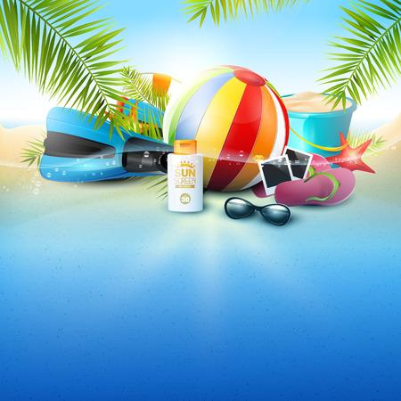 Nadmorski widok na piękną słoneczną plażę z liśćmi palmowymi, plażową piłkę, okulary przeciwsłoneczne, płetwy do nurkowania i klapki. Koncepcja urlopu letniego