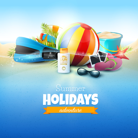 flipflops: Seaside view on beautiful sunny beach with palm leaves, beach ball, sunglasses,diving fins and flip-flops. Summer vacation concept