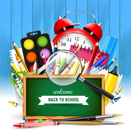 School background with school supplies and green chalkboard