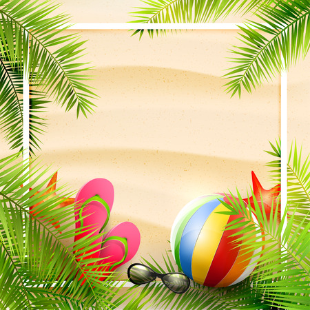 flipflops: Beach ball, sunglasses, palm leaves and flip-flops on the sand. Summer vacation concept