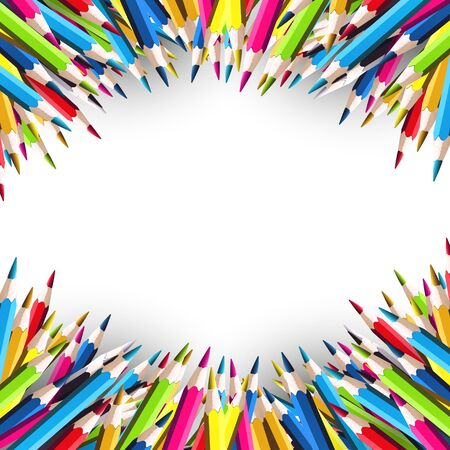 child school: School background with colorful pencils on white background