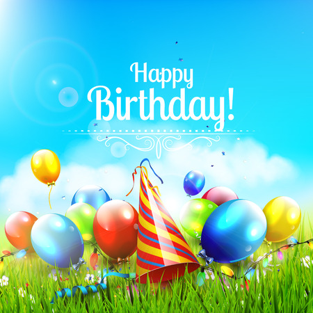 Colorful birthday background with balloons, party hat and confetti in beautiful sunny landscape
