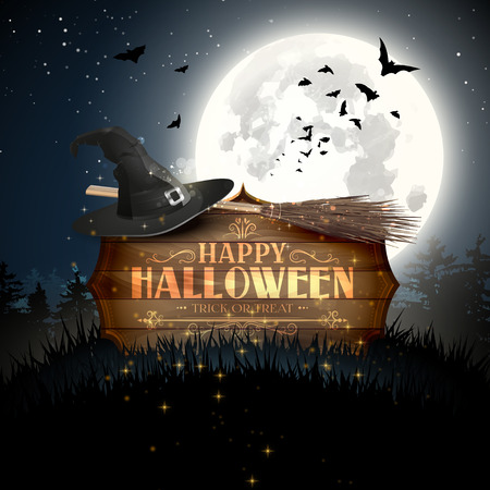Happy Halloween modern greeting card. Wooden sign with calligraphic inscription, old hat, broom and full Moon in scary woods Illustration