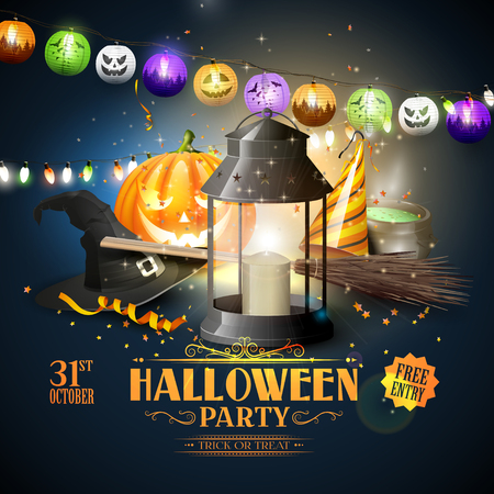 blue party: Modern Halloween party flyer with black lantern and colorful lights and paper lanterns on blue background.